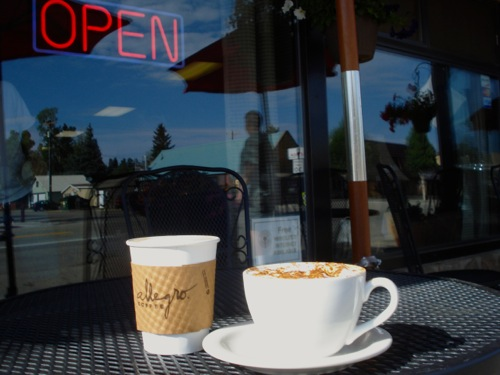 Enjoy coffee at one of our tables, or take it to go.